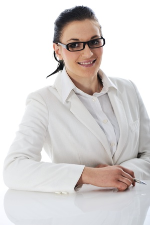 Young business woman wearing white suit and glasses Stock Photo - 11176740