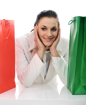 Beautiful young female with shopping bags Stock Photo - 11176709