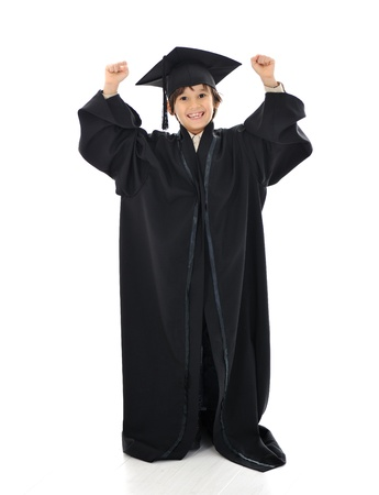 graduating: Diploma graduating little student kid, successful elementary school Stock Photo