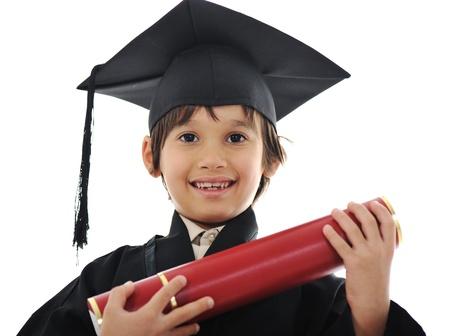 Diploma graduating little student kid, successful elementary school photo
