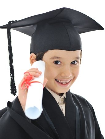 graduation gown: Diploma graduating little student kid, successful elementary school Stock Photo