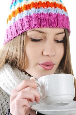 hot lady: Happy Winter Beautiful Girl drinking hot tea