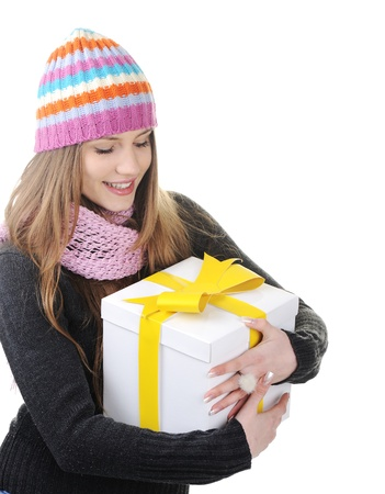 yellow fleece: Winter girl with present box, gift