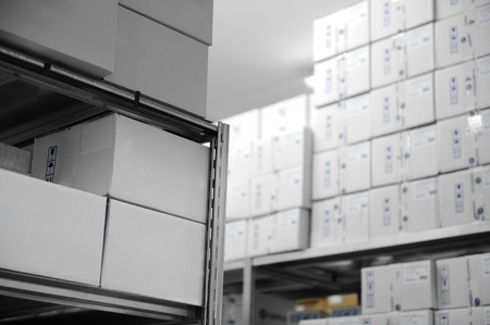 commercial medicine: Interior of modern warehouse, many boxes Stock Photo
