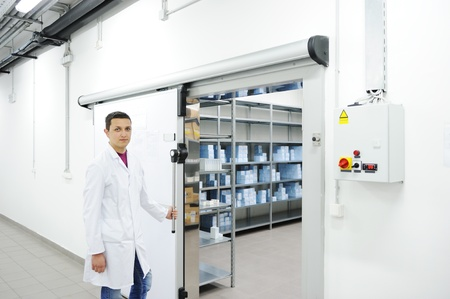 male sperm: Industrial modern refrigerator  Stock Photo