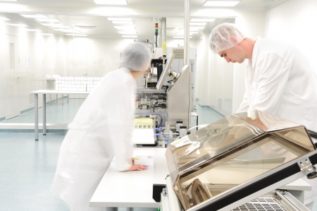 inside technology: Workers at modern drug factory