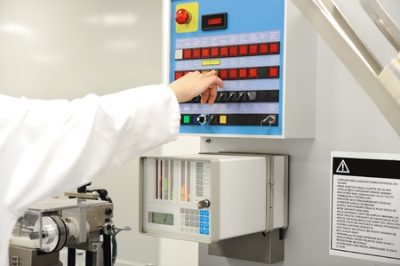 inspect: Switch panel at modern factory Stock Photo