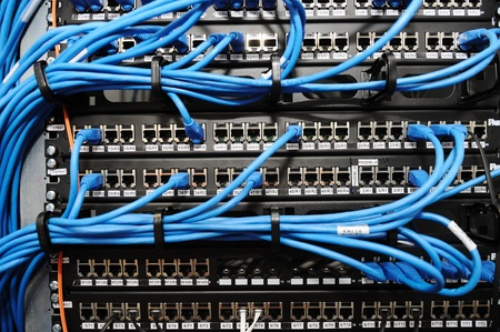 routers: Server panel with cables and connectors