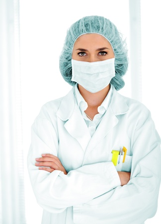 Female doctor with mask at hospital photo