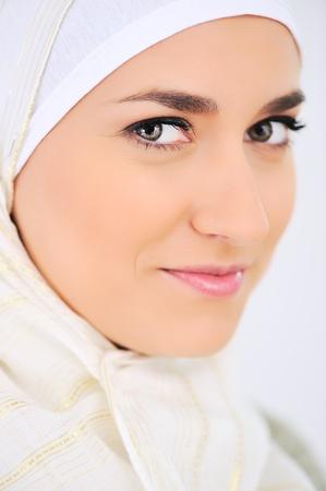 head scarf: Muslim beautiful woman portrait