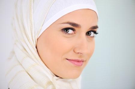 woman face profile: Muslim beautiful woman portrait