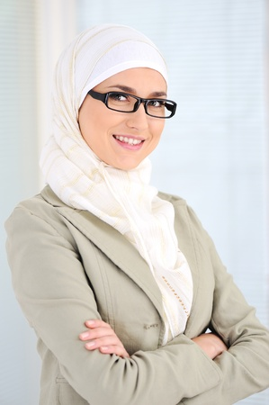 Muslim business woman in office Stock Photo