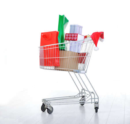 supermarket series: Shopping cart with boxes and bags in