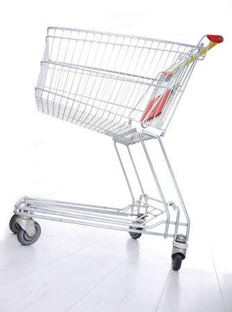 supermarket series: Empty shopping cart on white Stock Photo