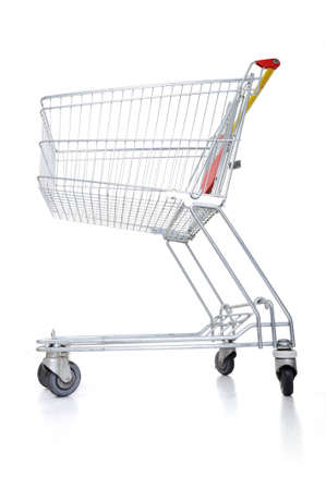 Empty shopping cart on white Stock Photo - 12627639