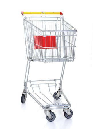 product cart: Shopping cart on white Stock Photo