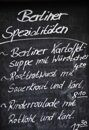 Restaurant menu in Germany