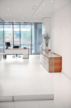 glass doors: Modern office with no people in
