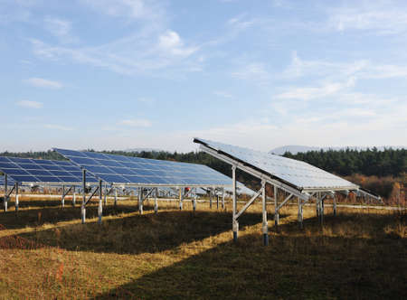 Solar panels energy field photo