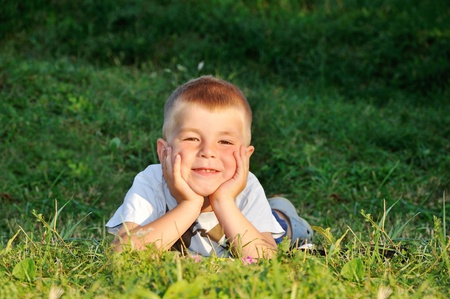 happy little boy laying on the grass in nature looking at camera Stock Photo - 13375485