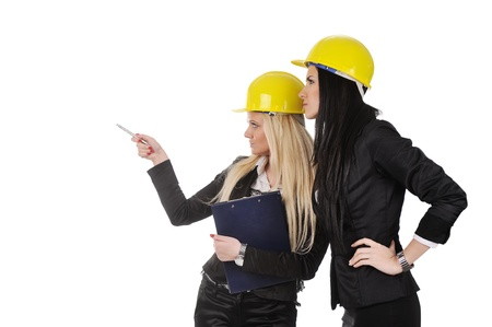 Team of architects working isolated over white background photo
