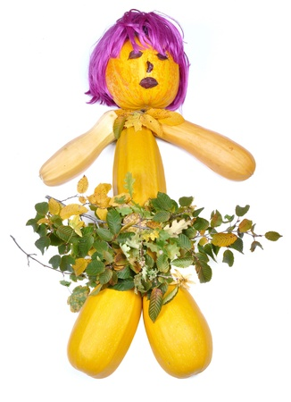 periwig: Doll made of pumpkins periwig and leaves