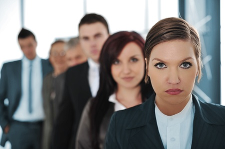focus group: Business team of six people standing  Stock Photo