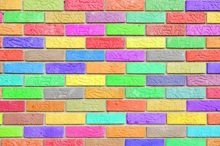 Colorful brick wall pattern background photo