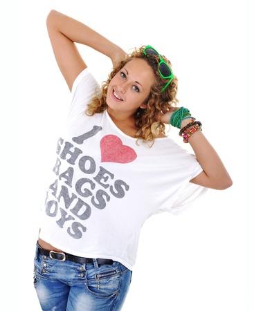 armlet: Trendy teen blond girl Stock Photo