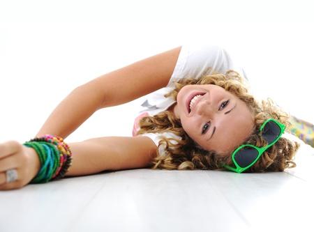 teen legs: Young teen girl lying on floor