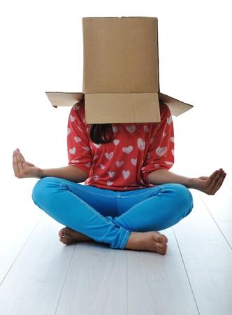 head home: Box on human head