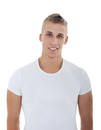 Portrait of a smiling handsome guy isolated  on white photo