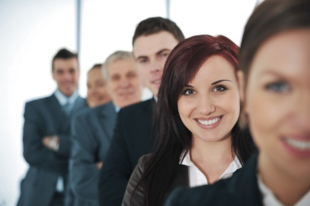 Happy business people standing together Stock Photo - 13381999
