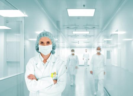 corridoi: Gli scienziati del team presso il laboratorio moderno ospedale, gruppo di medici Archivio Fotografico