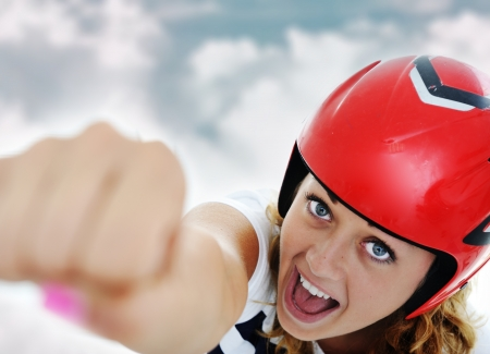 Super hero woman flying Stock Photo - 13667728