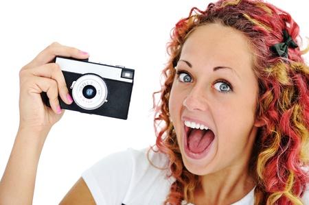 boca abierta: Emocionado chica con la cámara de retro