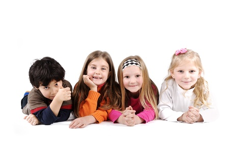 Children group family laying on floor ground isolated Stock Photo - 13687065