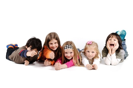 frienship: Children group family laying isolated Stock Photo