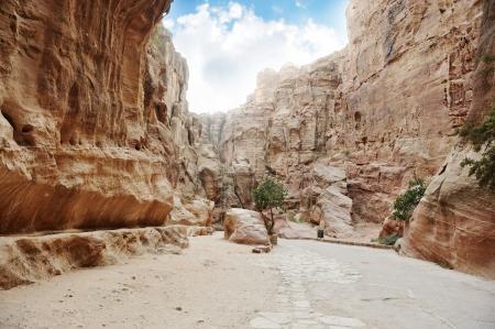 caved: The Siq - ancient canyon in Petra, Jordan Stock Photo