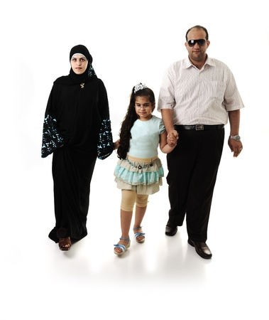 Arabic family walking on white photo
