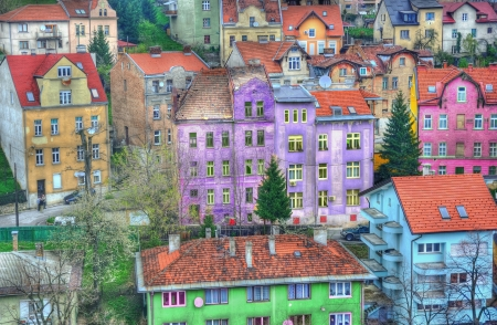 Colorful buildings city photo