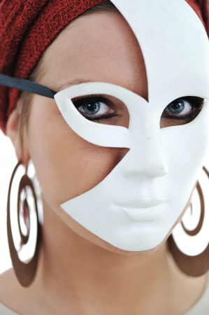 Young woman wearing mask photo