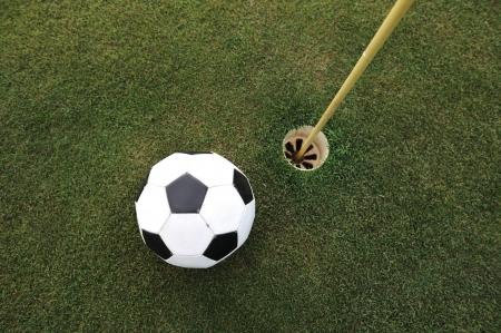 large ball: Football big ball at golf field hole