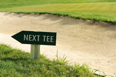 Next tee sign arrow direction golf field Stock Photo - 13676607