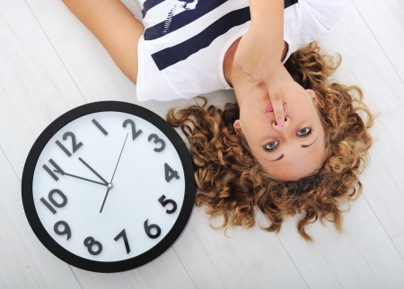 floor covering: Girl and clock silence secret