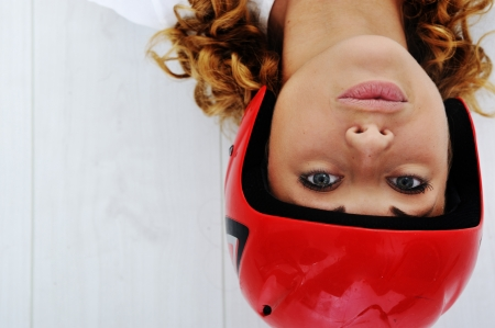 Funny girl with red helmet Stock Photo - 13667735