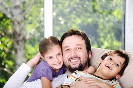 Father son and daughter at home Stock Photo - 13667801