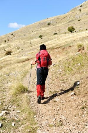Walking in mountains hiking woman photo