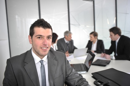 large group of business people: Portrait of businessman in the working place Stock Photo