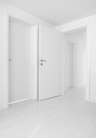 closed door: Empty home interior doors and floor Stock Photo